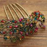 Gold Plated Colorful Rhinestone Pea..