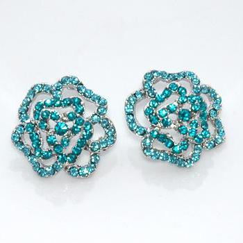 Teal Blue Rhinestones Dazzling Silver Rose Earrings