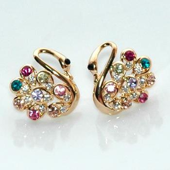 Dazzling Rose Gold Rhinestone Swan Earrings